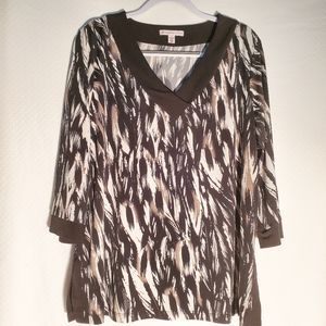 JM Collection Tunic Top Size 1X Black Brown Ivory